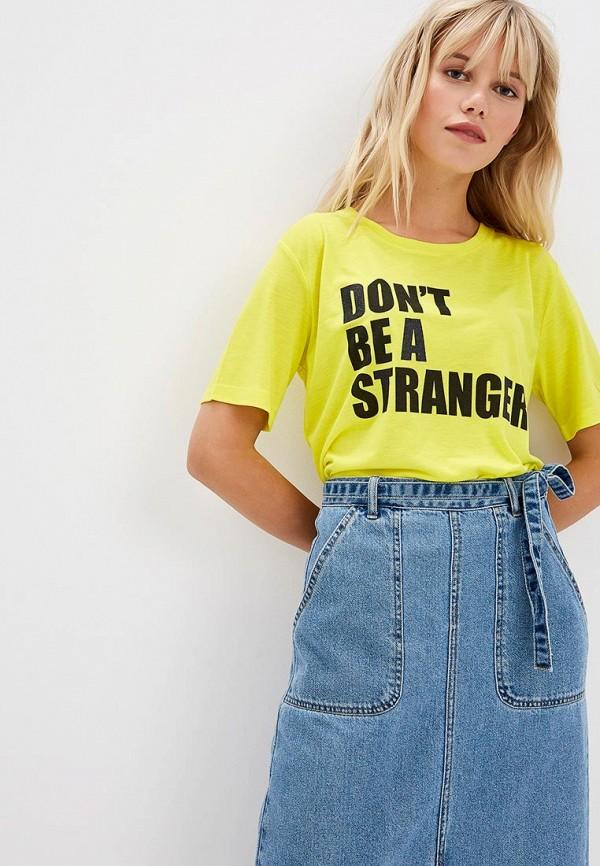 женская футболка jacqueline de yong, желтая