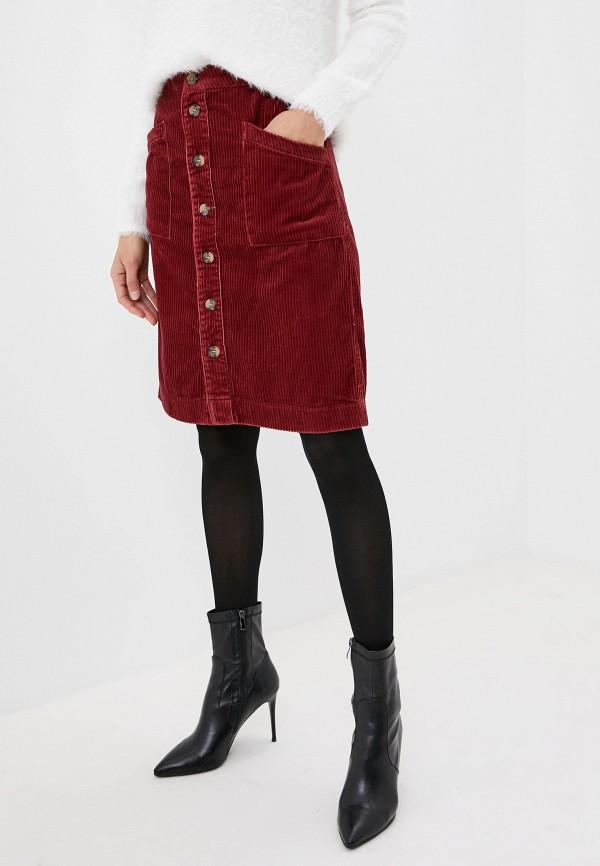 женская прямые юбка jacqueline de yong, бордовая