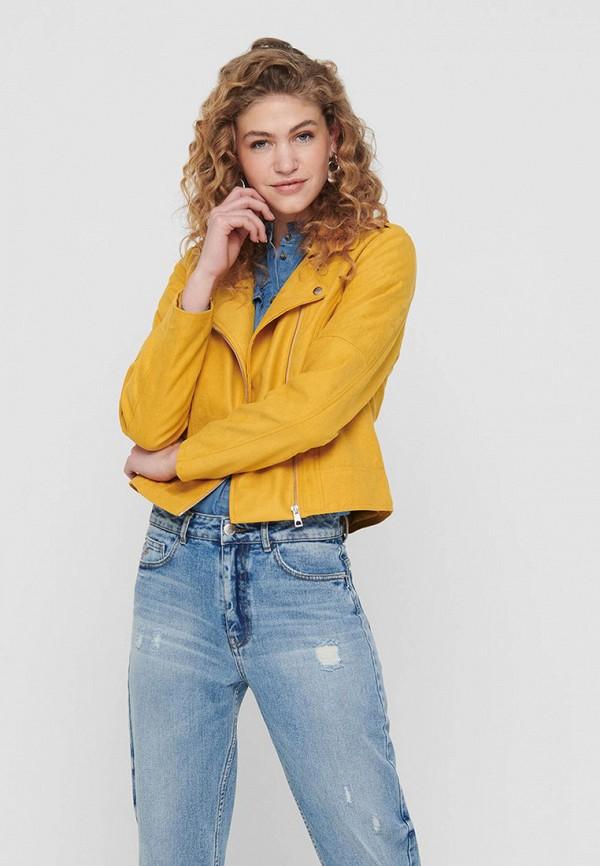 женская куртка косухи jacqueline de yong, желтая