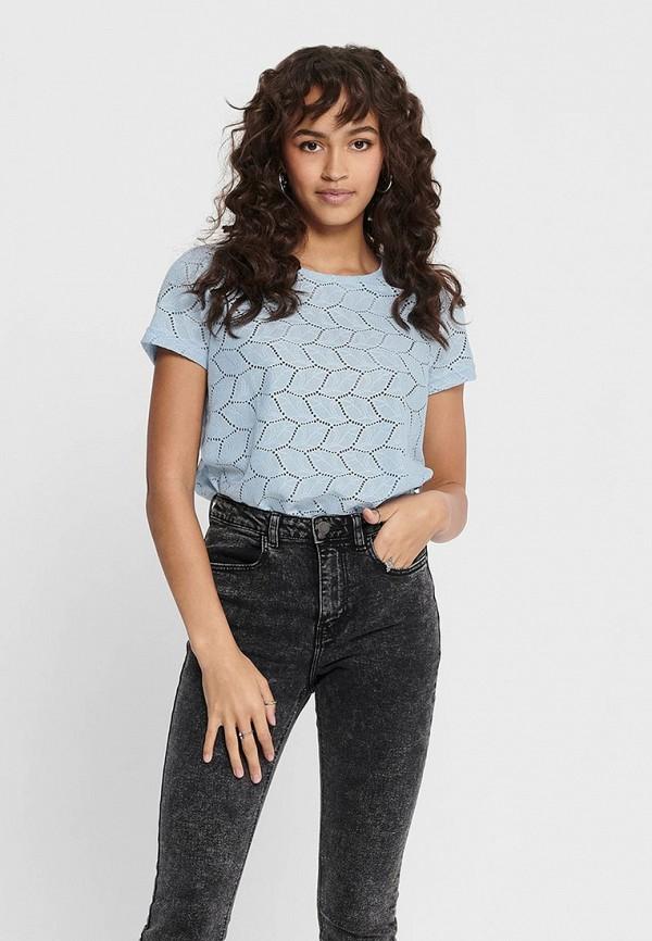 женская футболка jacqueline de yong, голубая