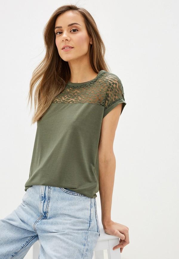 женская блузка с коротким рукавом jacqueline de yong, зеленая