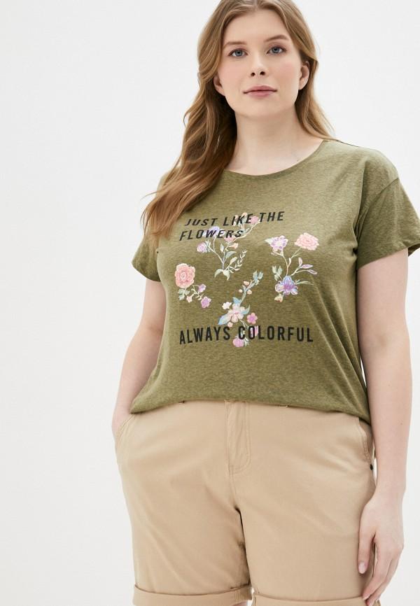 женская футболка jacqueline de yong, хаки