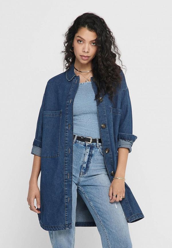 женская джинсовые рубашка jacqueline de yong, синяя