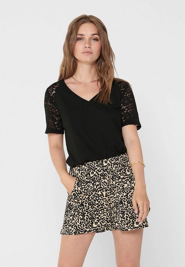 женская футболка jacqueline de yong, черная