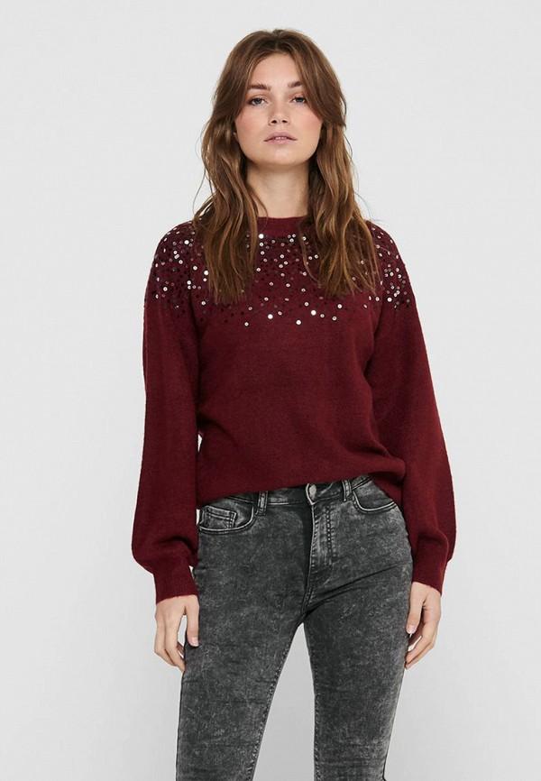 женский свитер jacqueline de yong, бордовый