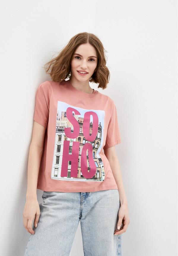 женская футболка jacqueline de yong, розовая