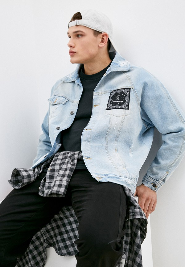 мужская джинсовые куртка j.b4, голубая