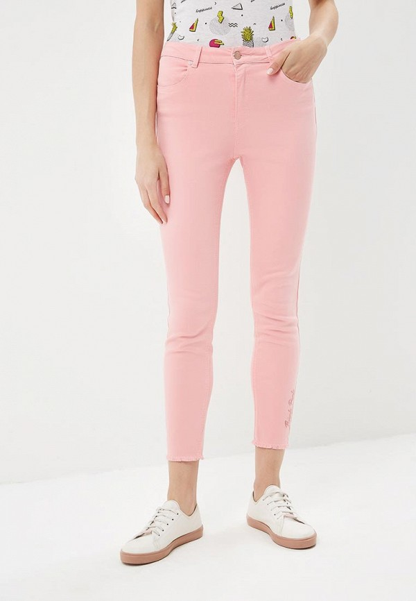 женские зауженные брюки jennyfer, розовые