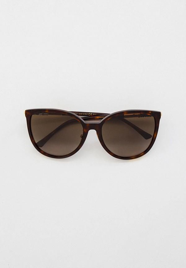 женские солнцезащитные очки кошачьи глаза jimmy choo, коричневые