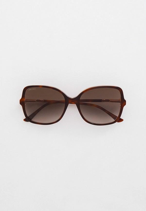 женские квадратные солнцезащитные очки jimmy choo, коричневые