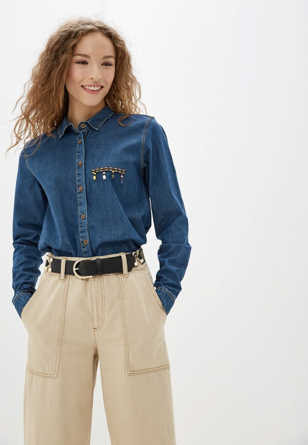 женская джинсовые рубашка jimmy sanders, синяя