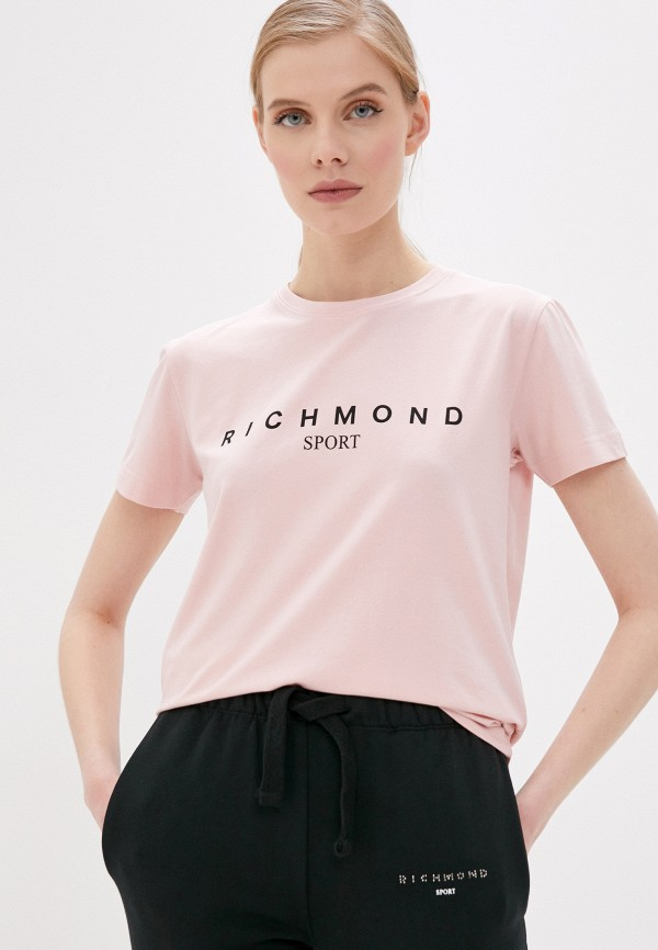 женская футболка john richmond, розовая
