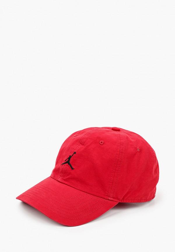 женская бейсболка jordan, красная
