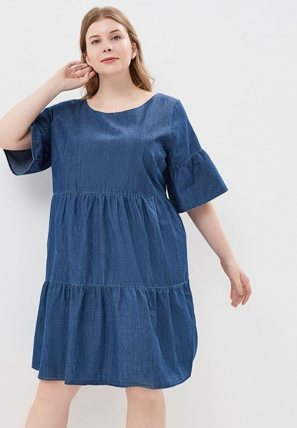 женское платье миди junarose, синее