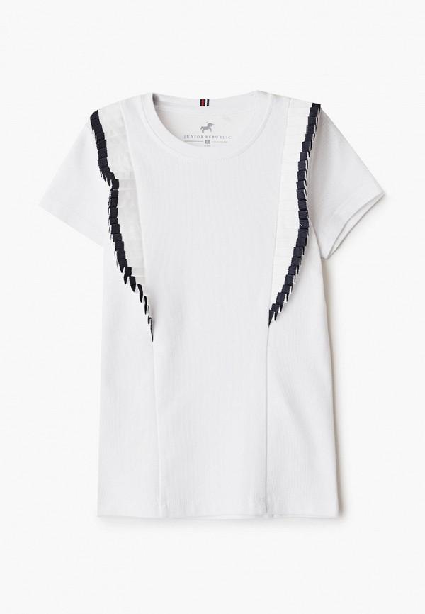 футболка с коротким рукавом junior republic для девочки, белая