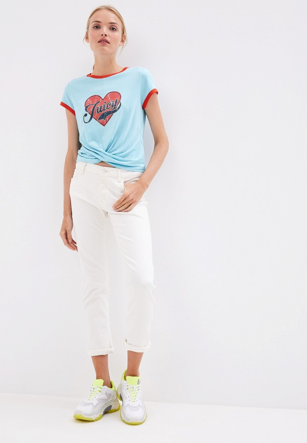 Фото 2 - женскую футболку Juicy Couture голубого цвета