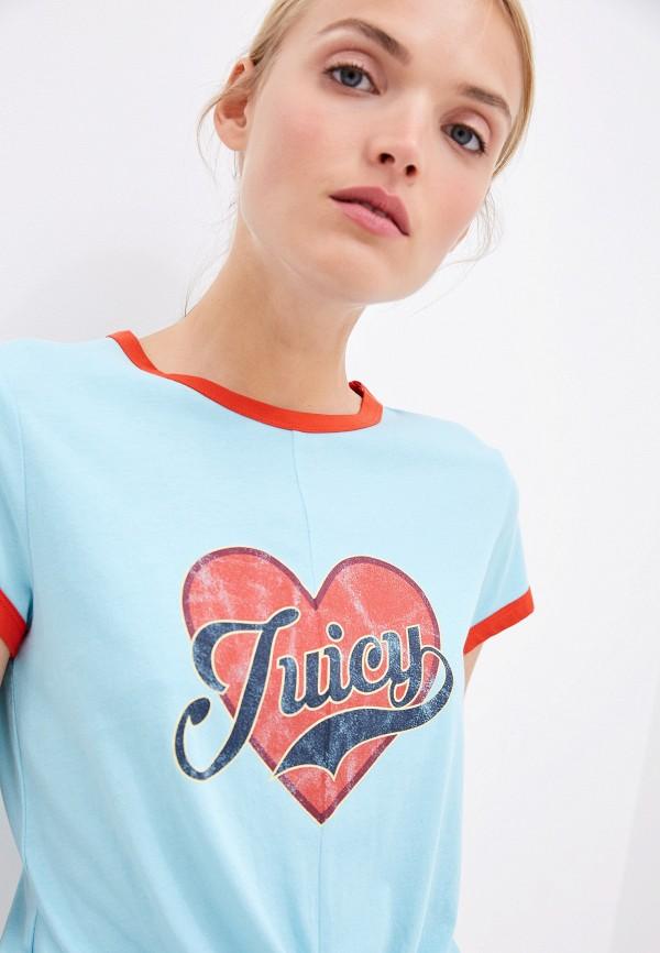 Фото 4 - женскую футболку Juicy Couture голубого цвета