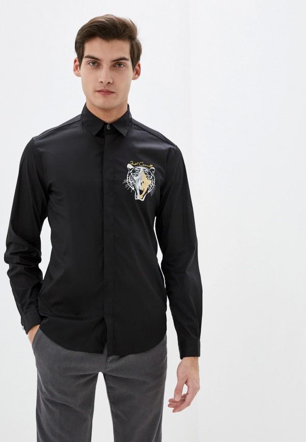 мужская рубашка с длинным рукавом just cavalli, черная