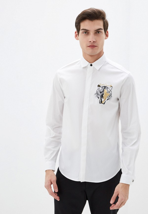 мужская рубашка с длинным рукавом just cavalli, белая