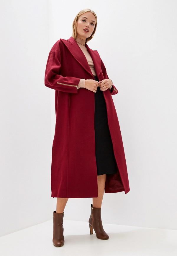 женское пальто just cavalli, бордовое