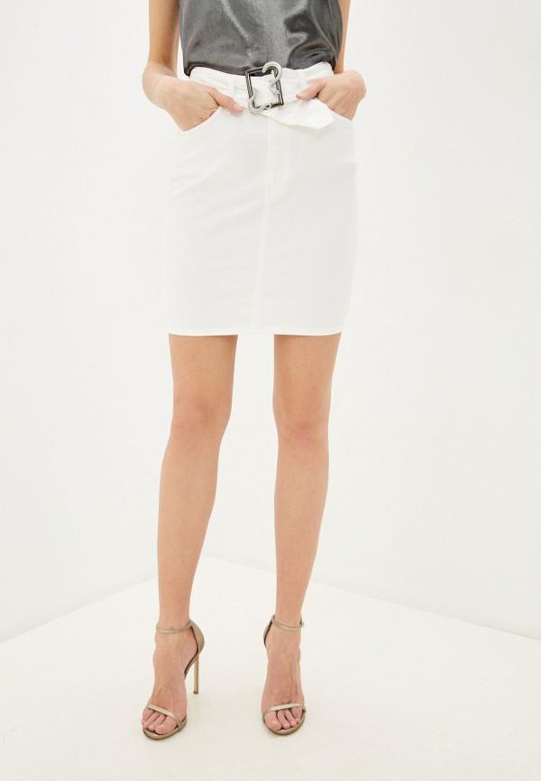 женская джинсовые юбка just cavalli, белая