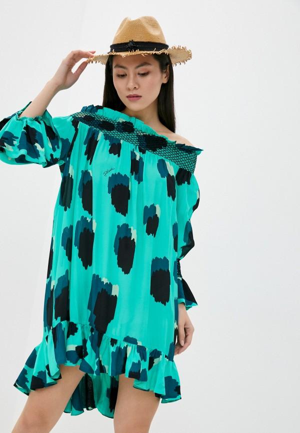 женское платье just cavalli, зеленое