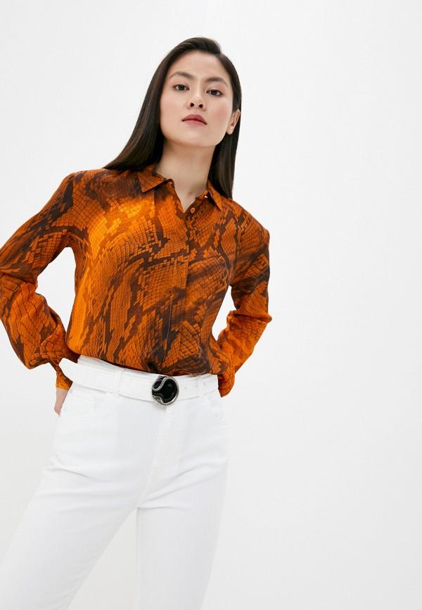 женская блузка just cavalli, оранжевая