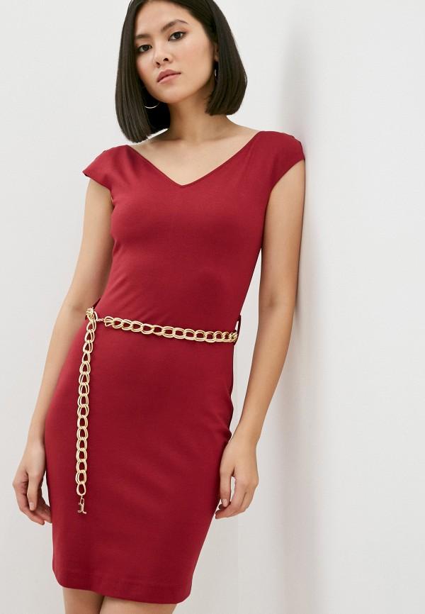 женское платье-футляр just cavalli, бордовое
