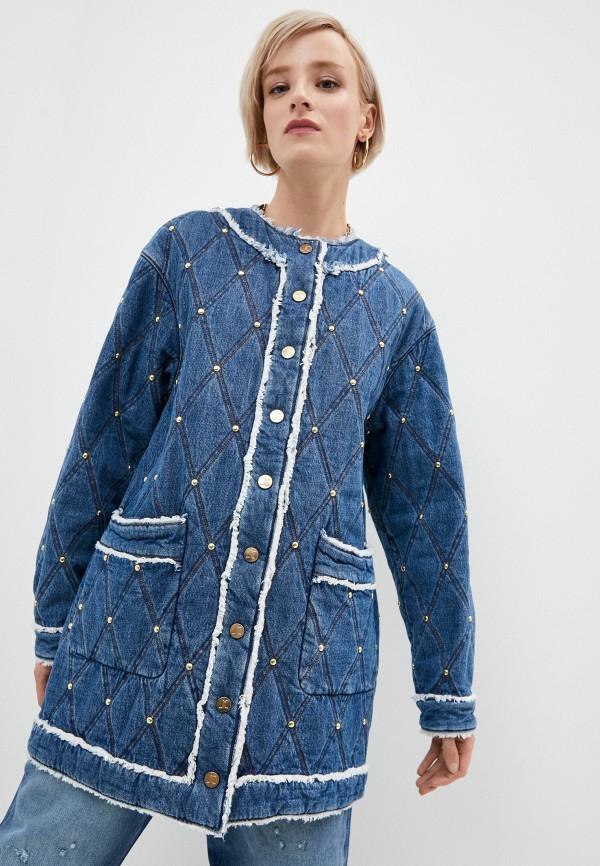 женская джинсовые куртка just cavalli, синяя
