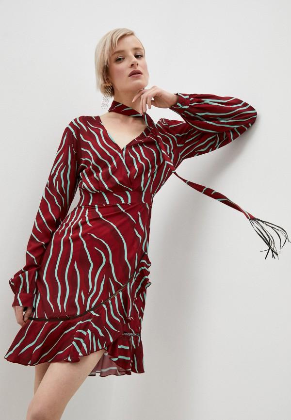 женское повседневные платье just cavalli, бордовое