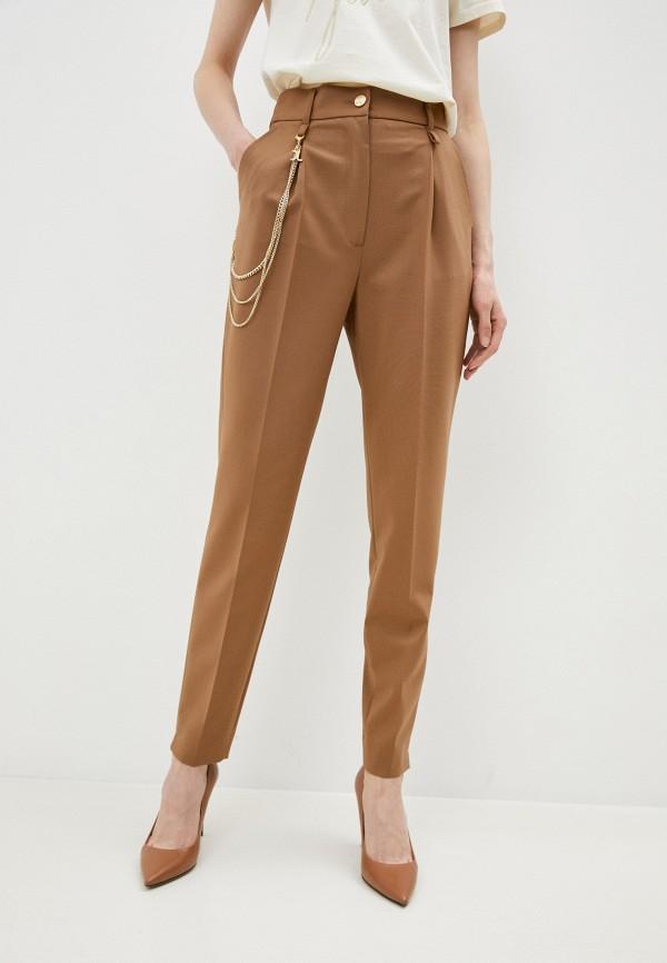 женские повседневные брюки just cavalli, коричневые