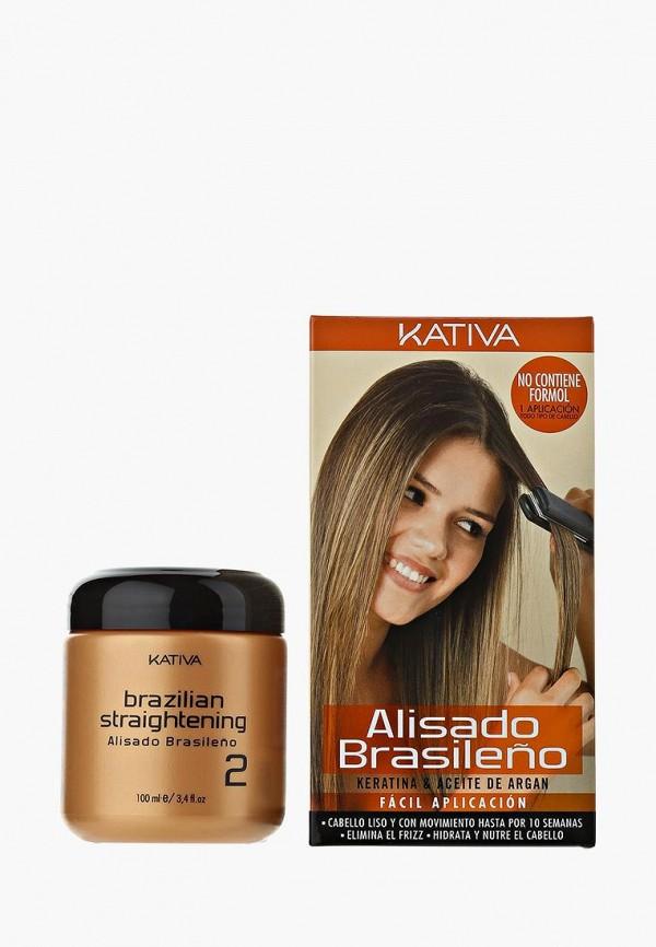 Набор для ухода за волосами Kativa, KERATINA выпрямление и восстановление с маслом Арганы, ka009lucnp37, белый, Весна-лето 2019  - купить со скидкой