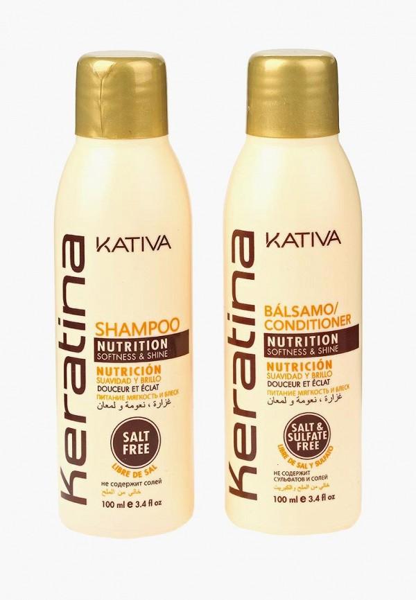 Купить Набор для ухода за волосами Kativa, KERATINA укрепляющий шампунь + конциционер с кератином для всех типов 2 по 100 мл, ka009lugml02, Весна-лето 2019