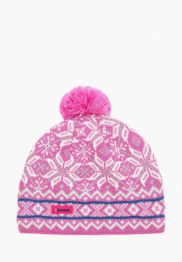 женская шапка kama, розовая