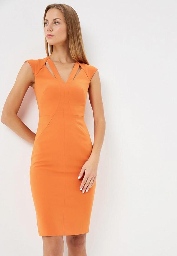 женское платье-футляр karen millen, оранжевое