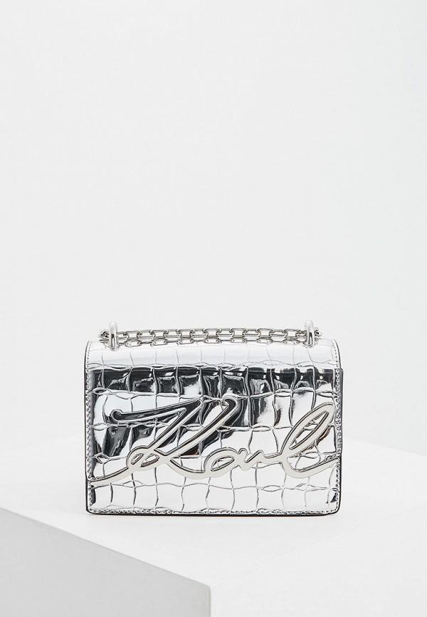 женская сумка karl lagerfeld, серебряная