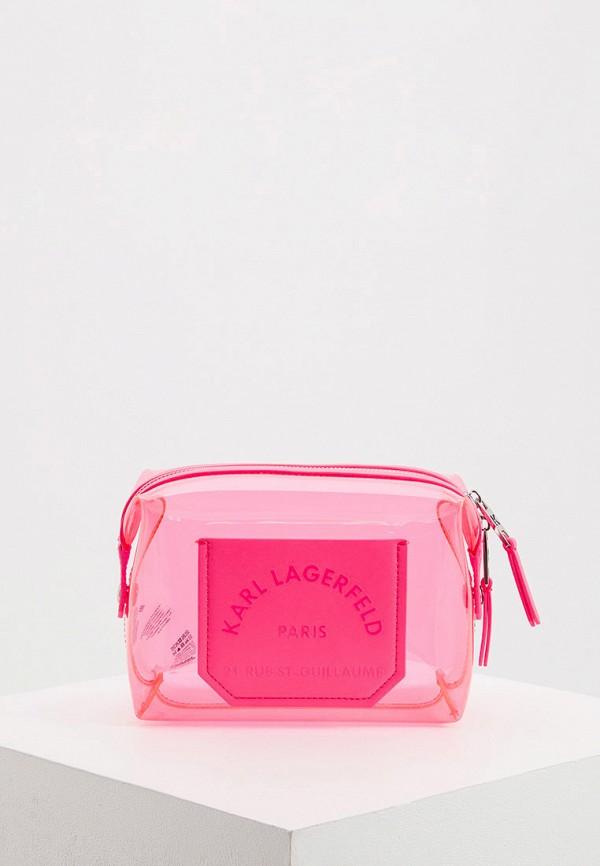 женская косметичка karl lagerfeld, розовая