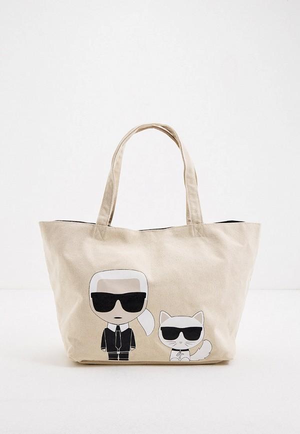 женская сумка-шоперы karl lagerfeld, белая