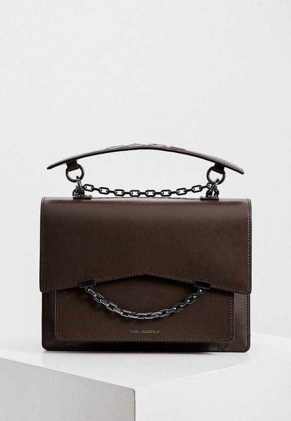женская сумка karl lagerfeld, коричневая
