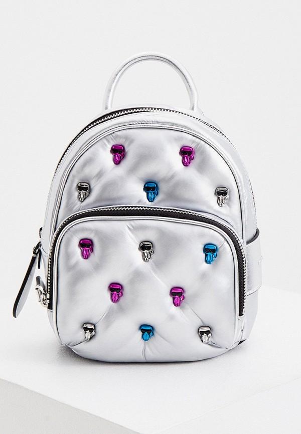женский рюкзак karl lagerfeld, серебряный