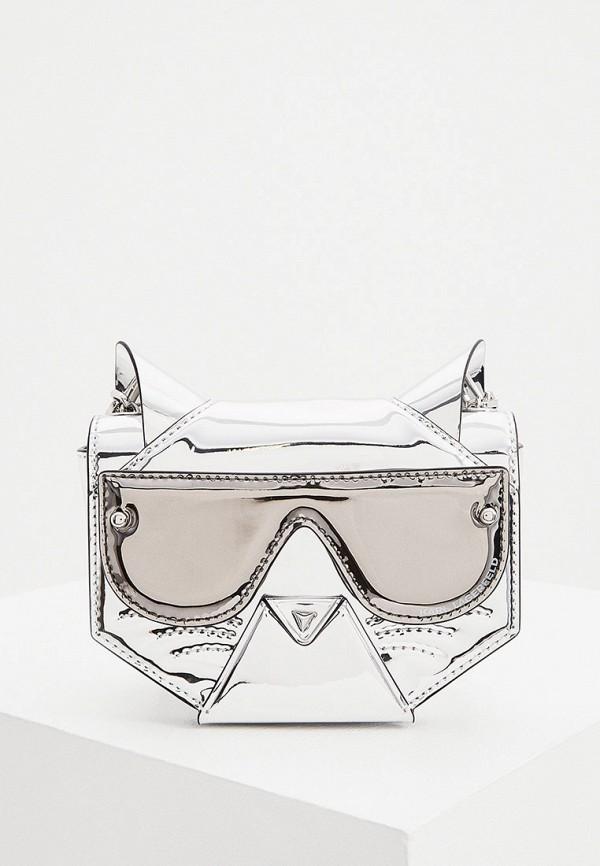 женская сумка через плечо karl lagerfeld, серебряная