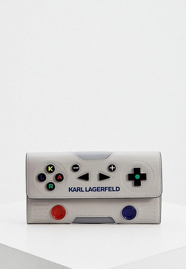 женский кошелёк karl lagerfeld, серый