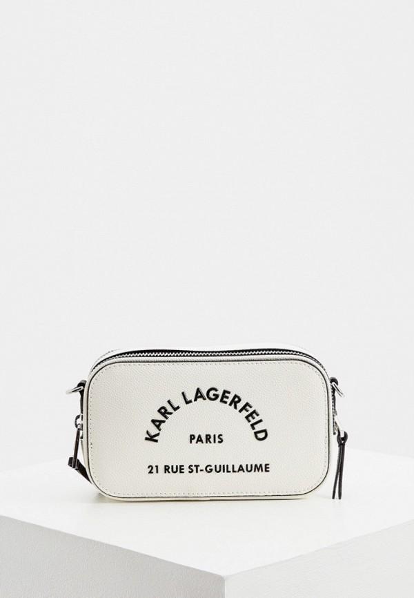 женская сумка через плечо karl lagerfeld, белая