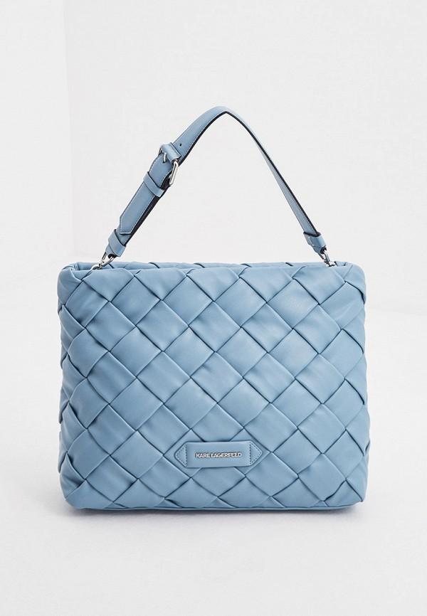 женская сумка с ручками karl lagerfeld, голубая