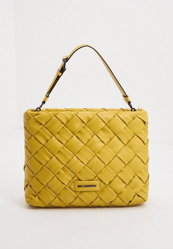 женская сумка с ручками karl lagerfeld, желтая