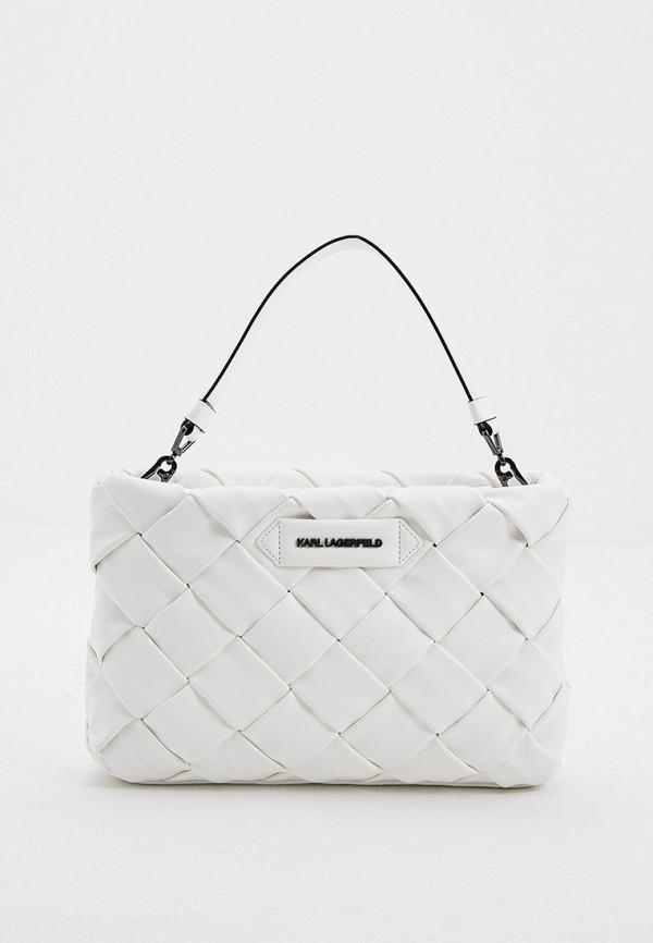 женская сумка с ручками karl lagerfeld, белая