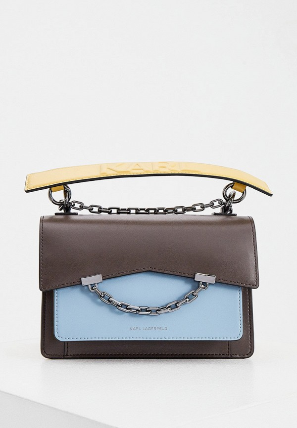женская сумка с ручками karl lagerfeld, коричневая