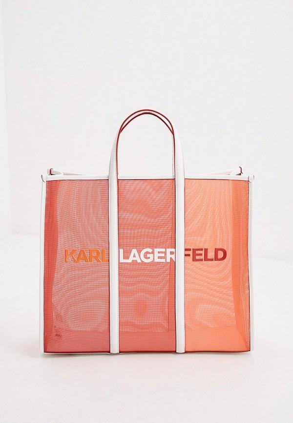 женская сумка-шоперы karl lagerfeld, красная