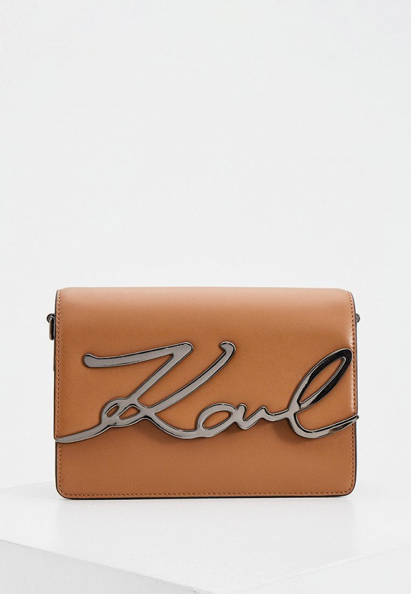 женская сумка через плечо karl lagerfeld, коричневая