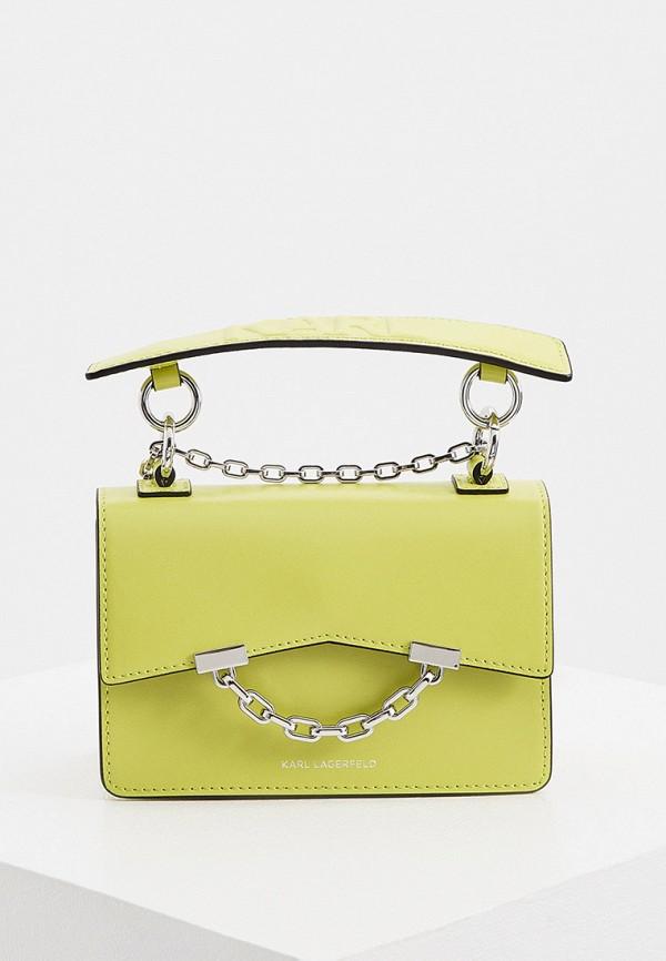 женская сумка с ручками karl lagerfeld, зеленая